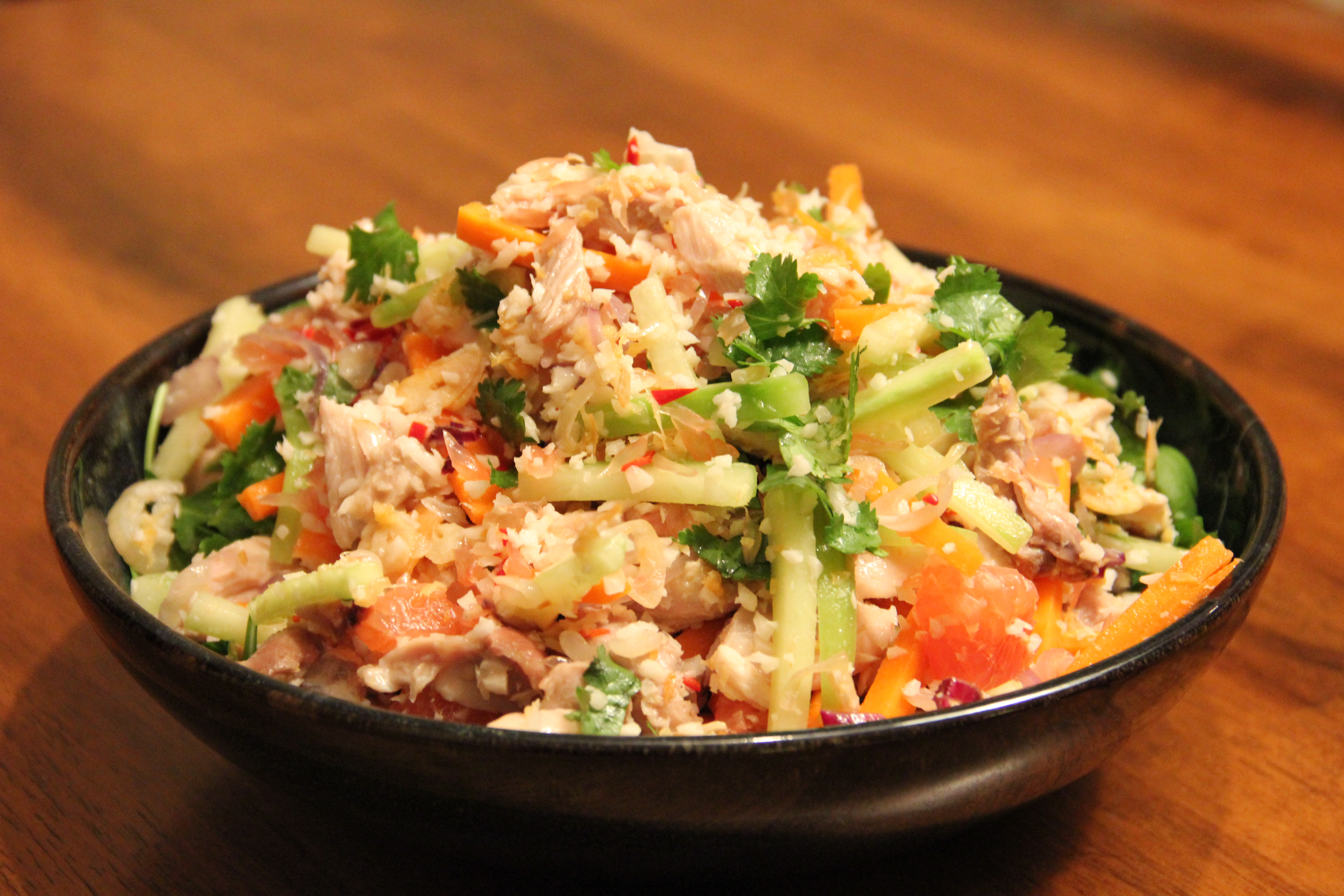Yam som-o, or pomelo and coconut spicy salad with chicken